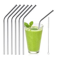 6pcs Stainless Steel Drinking Straws Reusable Curved Straws - Ebony's deals