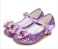 Children girls Princess Sandals heels Kids Wedding Shoes Dressy dress sparkly jewels Gold Leather Shoes fancy holiday event ruby slipper