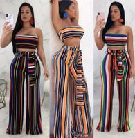 2 Piece Set Sexy Stripe Strapless Jumpsuit Women Slash Neck Off Shoulder Sleeveless Rompers Orange Casual Women Jumpsuits Outfit - T7lvsurplus store