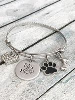 Dog mom - Hand stamped bracelet - Dog mom jewelry-PawsFurYou.com