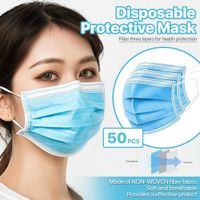 50 PCS Face Mask Medical Surgical Dental Disposable 3-Ply Earloop Mouth Cover - eDealFlavour