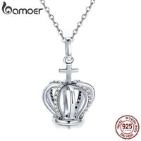 BAMOER Silver Necklace With Queen Crown & Cross Pendant