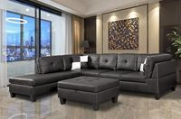 Black Nail Head 3 Piece Sectional Set Lift -Facing chaise with Free Storage Ottoman - MEGAFURNISHING