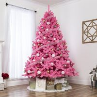 Best Choice Products 6ft Artificial Christmas Full Fir Tree Seasonal Holiday Decoration w/ 1,477 Branch Tips, Foldable Stand, Pink
