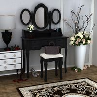 Home Furnitures Makeup Dressing Table With Stool 7 Drawers Adjustable Mirrors Bedroom Baroque style Fast shipping