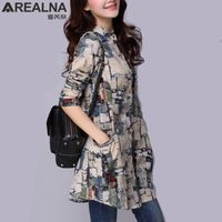 2019 Autumn Women's Fashion Cotton Long Sleeves Printed Tunic Top