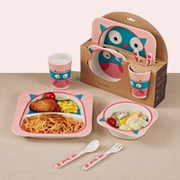 Bamboo Dinner Set Plate+Bow+Fork+Cup
