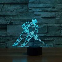 3D LED Ice Hockey Player Table Lamp USB Visual Luminaria Bedside Night Light