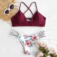 Bikini Cut Flower Two Piece Swimwear Beachwear - vcfashionline.com
