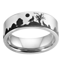 Silver Tungsten Wolf Ring - Gold of Wolves