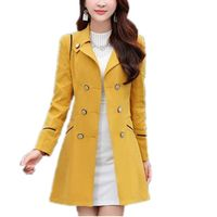 Lisa Colly Women Spring Autumn Trench Coat Women Long Sleeves Turn-down Collar Double Breasted Coats Overcoat Women Slim Outwear - www-kitchen-bath-com