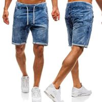 2019 Men's CottonThin Denim Ruched Short Pants New Fashion Summer Male Casual Low Waist Short Jeans Shorts Stretch Pant