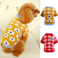 plaid flower doggy sweater