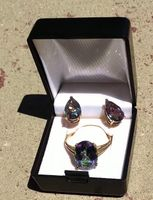 VINTAGEPAlace.us, 2 pc sET, rAINBOw Topaz, TreATED, tEARdROp Earings, Oval 10 KT Gold Ring,