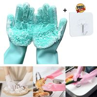 1Pair Silicone Cleaning Gloves Kitchen Accessories  Not Hurt Hands Dishwashing Gloves Household Scrubbers Kitchen Cleaning Tools