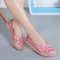 Ballet Flats Genuine Leather Shoes Women Soft Bottom Hollow out Shoes Slip on Breathable
