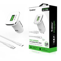 18W QC3.0 Car Charger and 3ft Cable For Type-C In White - Rector Direct