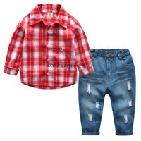 2 Pieces Kids Boys Clothes Sets 2019 Spring Plaid Stripe Shirts+Jeans Casual Children Boy Girls Clothes Outfits For 2-7 Years