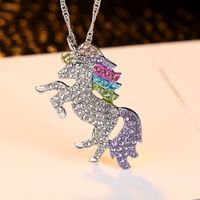 Iced Out Rainbow Unicorn Pendant Necklace - ebeauty-galore