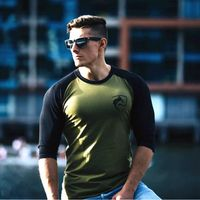 Copy of ALPHALETE New Men Three Quarter Sleeve T-shirts Cotton Gyms Fitness Workout Clothing Male Casual Fashion Brand Tees Tops