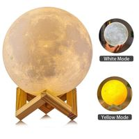 LED Night Light 3D Printing Moon Lamp Dimmable Touch Control USB Charging Light - Htiss