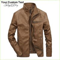 Solid Stand Collar Fashion Men Jacket 5XL DCT-245 - Leather Jacket For Men