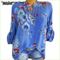 Women Loose Floral Print Blouses Tops - V-Neck Casual Shirts