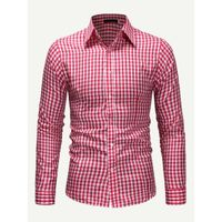 Mens Gingham Shirt Red