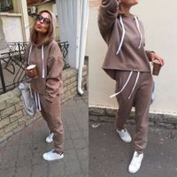 2018 Autumn Tracksuit Long Sleeve Thicken Hooded Sweatshirts 2 Piece Set Casual Sport Suit Women Tracksuit Set - Skyline Sunny