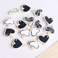 10pcs Heart 45x7mm DIY Black White Big Wood Clothes Pegs Clothespin Clips Office Party Decoration Accessories Photo Hanging Pegs - Skyline Sunny