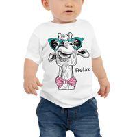 boy wearing giraffe with glasses relax t-shirt