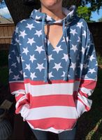 American Flag Hoody With Blowout Neck