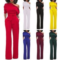 Women One Shoulder Jumpsuits Wide Leg High Waisted - Majestic Fashion-US