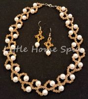 Champagne White Pearl Necklace Earrings Set
