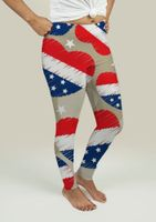 Leggings with American Independence Day Pattern - Leggings-Gee $pot Apparel