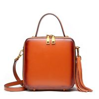 CM RISE - Women's Genuine Leather Luxury Shoulder Tote with Tassels