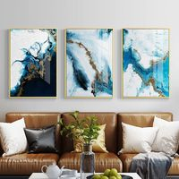 Abstract Color Splash Blue & Gold Canvas Print