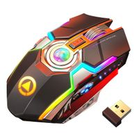 Wireless Gaming Mouse Rechargeable Gaming Mouse Silent Ergonomic 7 Keys RGB Backlit 1600 DPI mouse for Laptop Computer Pro Gamer