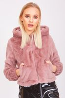Baby Pink Faux Fur Zip Up Hoodie Jacket - cloth-ly