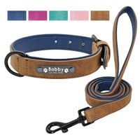 Leather Personalized Dog Collar Leash Set