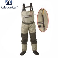 Outdoor Fly Fishing Stocking Foot ,waterproof and breathable chest waders with one buckle accident rope kit