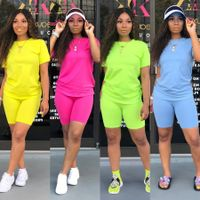 Two-piece Solid Color Women's Clothing. Short-sleeved Crew Neck T-shirt and Tight-fitting Shorts. Simple Style Tracksuit Outfit - Rolling Sweet