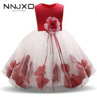 2019 Girls Rose Petal Hem Cute Princess Floral Dress Kids Christmas Dresses For Girl Wedding Birthday Vestidos Party Dress 4-10Y - reapam