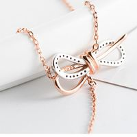 Bow Pendant Necklace female Silver Sweater Chain Tiktok Pop Style Necklace Clavicle Chain Fashion Inlaid Rhinestone Girls Gift