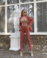 Ladies blazer & pants set, Camel two piece suit for women, Office suit, Casual suit for everyday and special occasions, Business women suit - The Crown on the Cross