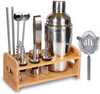 HANDMADE Barware COCKTAIL Shaker Set Bartender Kit Home Bar Tool with BAMBOO wood Stand, 12- Pieces - Letsquirk