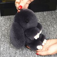 Cute Fluffy Bunny Key Chain with Rabbit Fur For Women Bag