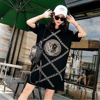 2019 summer new tide brand printing short-sleeved head T-shirt female long section loose  lady dress female aa620