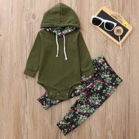 Girls Long Sleeve Hooded Romper+Floral Print Pants - GoGa Boutique