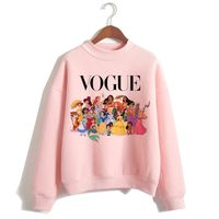 Female Clothes Sweatshirts Pullovers Cartoon Casual Harajuku Pullover Funny Princess Pink Hoodie Hip Hop Women Stree Twear - aleman fashion